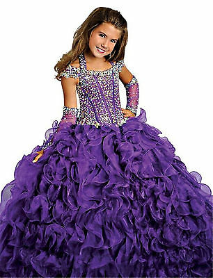 Kids Tulle Flower Girl Pageant Ball Gown Princess Party Prom Birthday Dresses