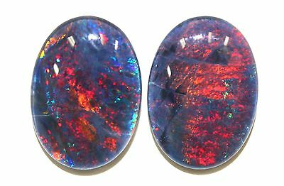 18x13mm Loose Stones Pair Of Natural Black Triplet Opal Stones For Earring #9