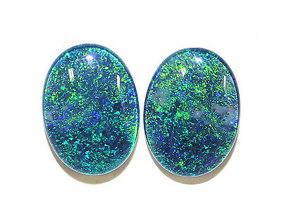 18x13mm Loose Stones Pair Of Natural Black Triplet Opal Stones For Earring #10