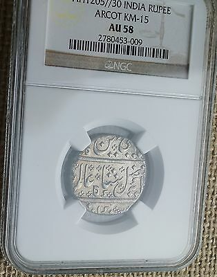c1819 AH1205//30 Arcot French India 1 Rupee World Silver Coin NGC AU58 Certified