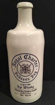 Vintage Royal Charter Hudson's Bay 12 Year Old Rye Whiskey Bottle Canada