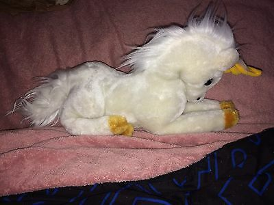 "Vintage 1979 Dakin 8"" Stuffed Plush Lying White Mystical Unicorn Euc"