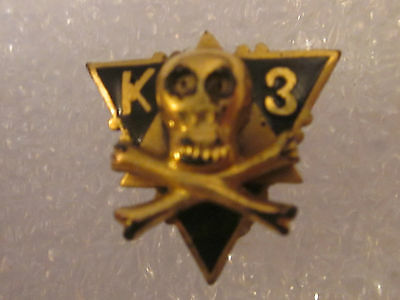Vintage K3 Skull Fraternity Fraternal Pin Badge