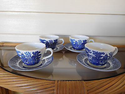 Churchill Blue Willow 4 Sets Cups & Saucers Made In England As New