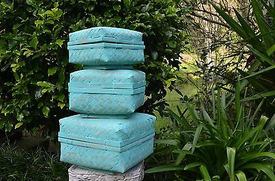 set x 3 Bamboo square baskets with lids in aqua wash or white wash.