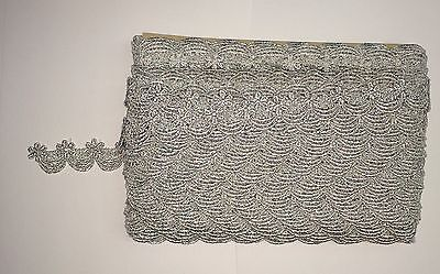 """VICTORIAN SCALLOPED VENICE LACE METALLIC SILVER 1"""" WIDE (sale by yard)"""