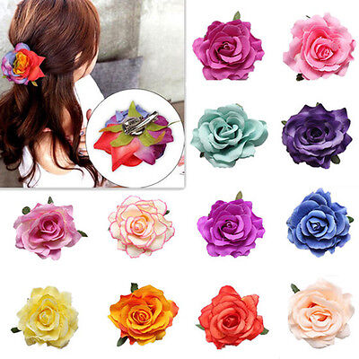 1pcs Bridal Bridesmaid Hair Clip Wedding Party Women Rose Flower Hairpin New