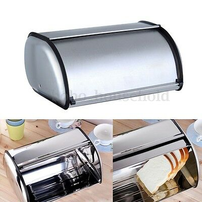 Stainless Steel Metal Bread Roll Box Loaf Storage Bin Kitchen Food Container