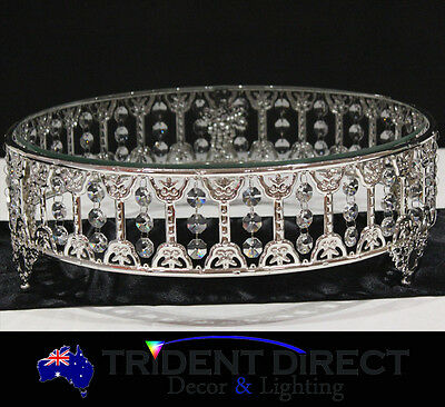"""Silver Cake Stand Round Glass Top 14""""-35cm"""