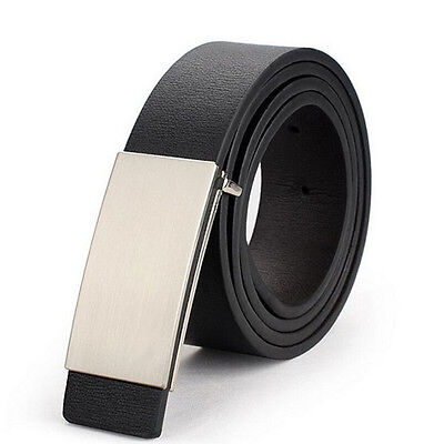 Mens Belt Leather Metal Automatic Casual Business Dress Band Waist Strap Newly