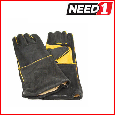 6 Pairs x Leather Welders Gloves, Cotton Lined, Black & Gold