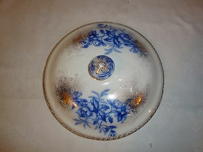 CHAMBER POT LID MARKED F ON INSIDE OF LID BLUE FLORAL (Lid Only)