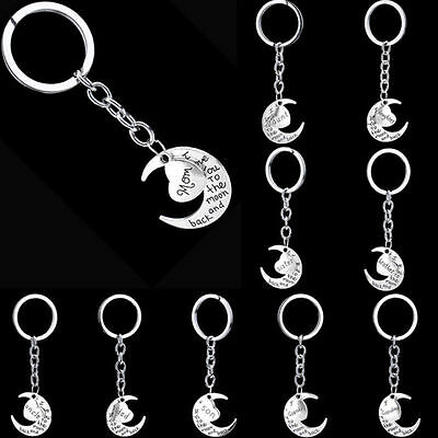 Silver Family Name Mom Daughter Sister Moon Heart Key Ring Chain Keyring BUA#3