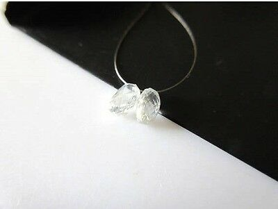 2 Pieces 4.5mm Rare Clear White Diamond Briolette faceted Tear Drop Beads DDS466
