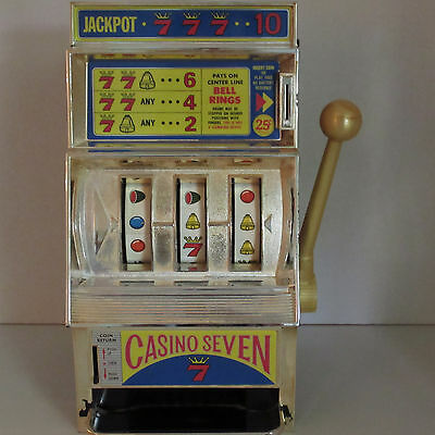 Vintage Waco Casino Seven Jackpot Slot Machine Toy Works w Quarters Or Play Free