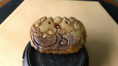 Antique Double Joined Dragon Fish w/Ball Nephrite Jade Amulet Netsuke Pendant.