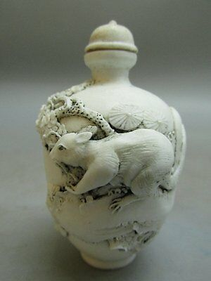 Chinese White Porcelain Carved Squirrel on Tree Pattern Snuff Bottle