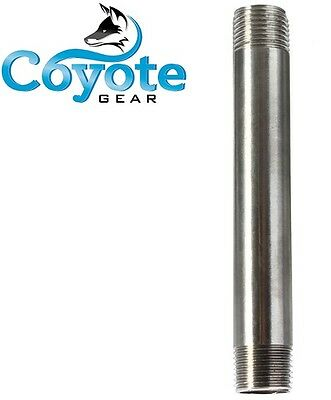 "1/2"" NPT x 8"" Long 316 Stainless Steel Pipe Thread Nipple Coyote Gear SS S/40"