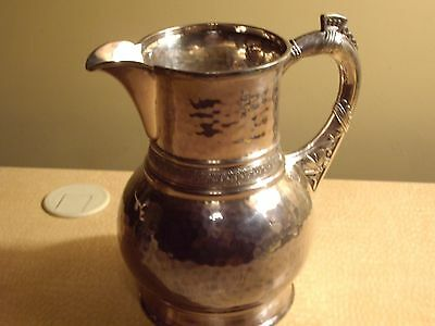 Rare Antique Pairpoint Silverplate  Water Pitcher ornate hammered Design