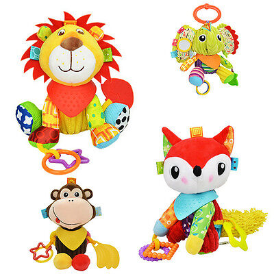 1 PC Baby Hand Grasp Toys Plush Dolls Animal Hanging Toy Infant Rattle Bell