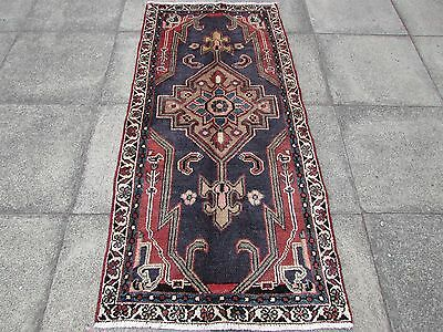 Old Hand Made Traditional Persian Oriental  Wool Blue Rug Short Runner 188x88cm