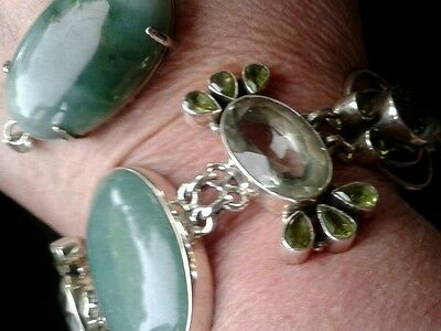 sterling silver agate peridot and green amethyst bracelet with pendant
