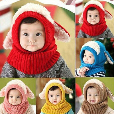 Hot Baby Hats Winter Warm Soft Warm Toddler Hat Hooded Scarf Earflap Knitted Cap