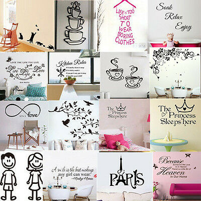 Family DIY Bathroom Wall Art Stickers Vinyl Decal Kids Home Art Decoration