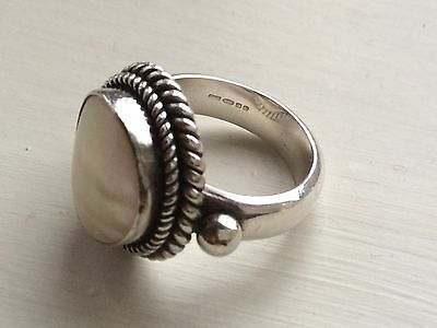 Chunky Silver And Mabe Pearl Ring. Size N. Comes Boxed.