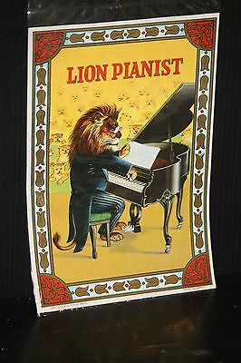 Lion Pianist OLD VINTAGE advertising paper LABEL SIGN jazz piano William Smith