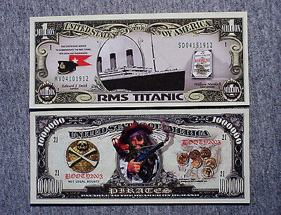 Set of 2 diff. fantasy paper money Titanic and pirates