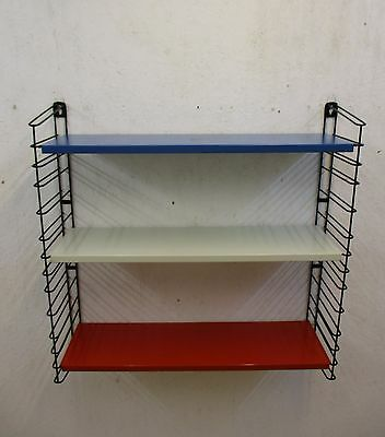 TOMADO wallshelving with 3 shelves red white and blue Industrial Era