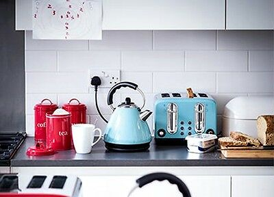 Blue Retro Duck Egg Stainless Steel Pyramid Kettle and 4 slice toaster set Love