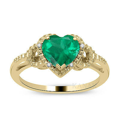1.00 Ct Heart Shaped Emerald & Natural Diamond 14k Yellow Gold Engagement Ring