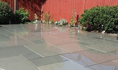 Grey Smooth & Sawn Indian Sandstone Paving Slabs Garden Paving Patio Flags