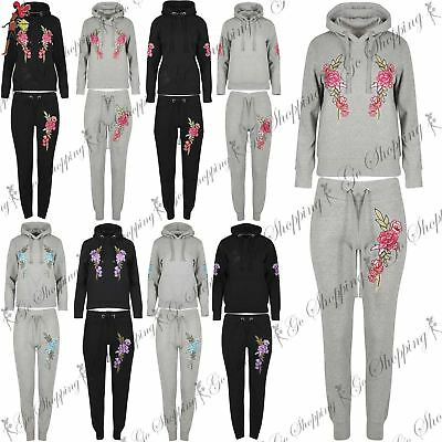 Womens Ladies Pullover Hoodie Floral Embroidery Sweatshirt Bottoms Tracksuit Set