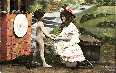 Young naked cupid boy archery target practice ~ c1910 ~ love romance Valentine
