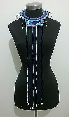 African Masai traditional handmade leather and beaded tribal neckpiece