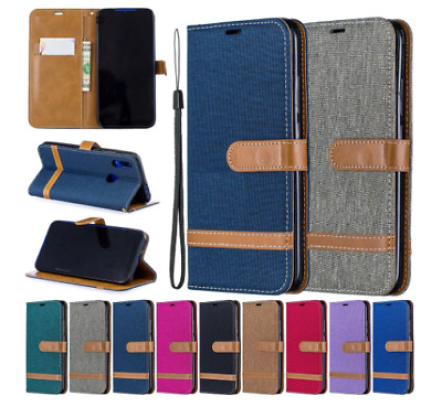 Canvas Tissu Flip Cover Wallet Card Slot Case For Samsung S8 S7 S6 S5