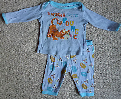 Disney Baby Licensed Tigger Boys Long Sleeved Top Pant Winter Pyjamas Size 000