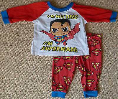 Superman Licensed Boys Long Sleeved Top Pants Cotton Pyjamas Size 000 0-3 Months