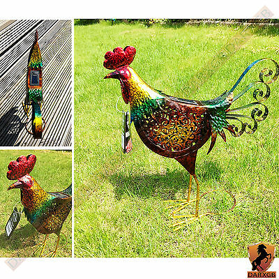 51cm Large Metal Rooster Solar Powered Garden Decoration Outdoor Ornaments Decor