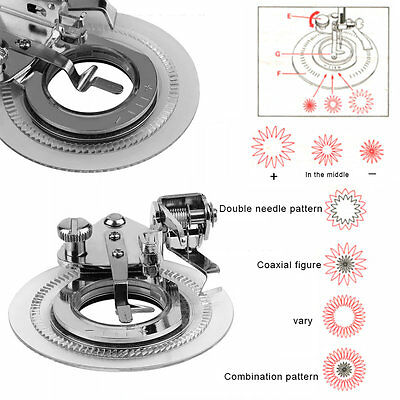 Round Disc Embroidery Presser Foot Flower Stitch For Home Sewing Machine UK