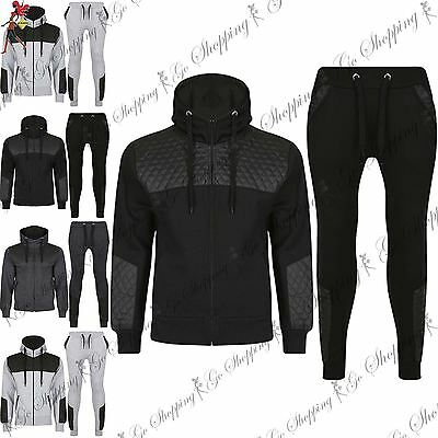 Mens Contrast Quilted Leather Patches Hoodie Bottoms Overhead Sports Tracksuit