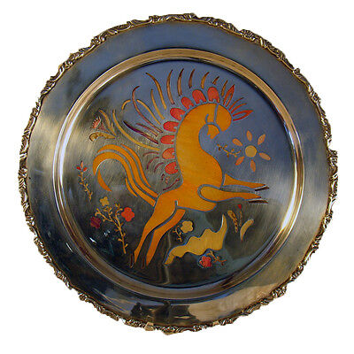 Large Art Deco Enameled Sterling Plate with Horse