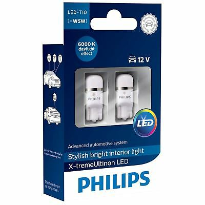 W5W PHILIPS X-treme Vision LED T10 12V Car Interior Signalling Bulbs 6000K Twin