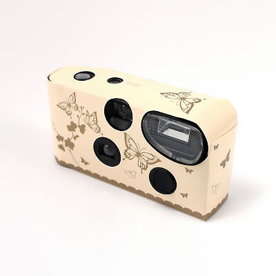 Disposable Cameras with Flash Ivory and Gold Butterfly Pack of 5
