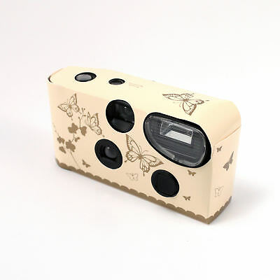 Ivory and Gold Butterfly Disposable Cameras with Flash Pack of 5