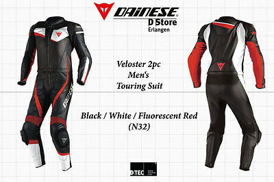 New Dainese Veloster Div 2-Pc Men Leather Suit Black White Fluo Red Eu 52 Us 42