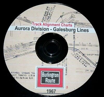 CB&Q RR Burlington Route 1967 Galesburg Line Track Chart PDF Pages on DVD
